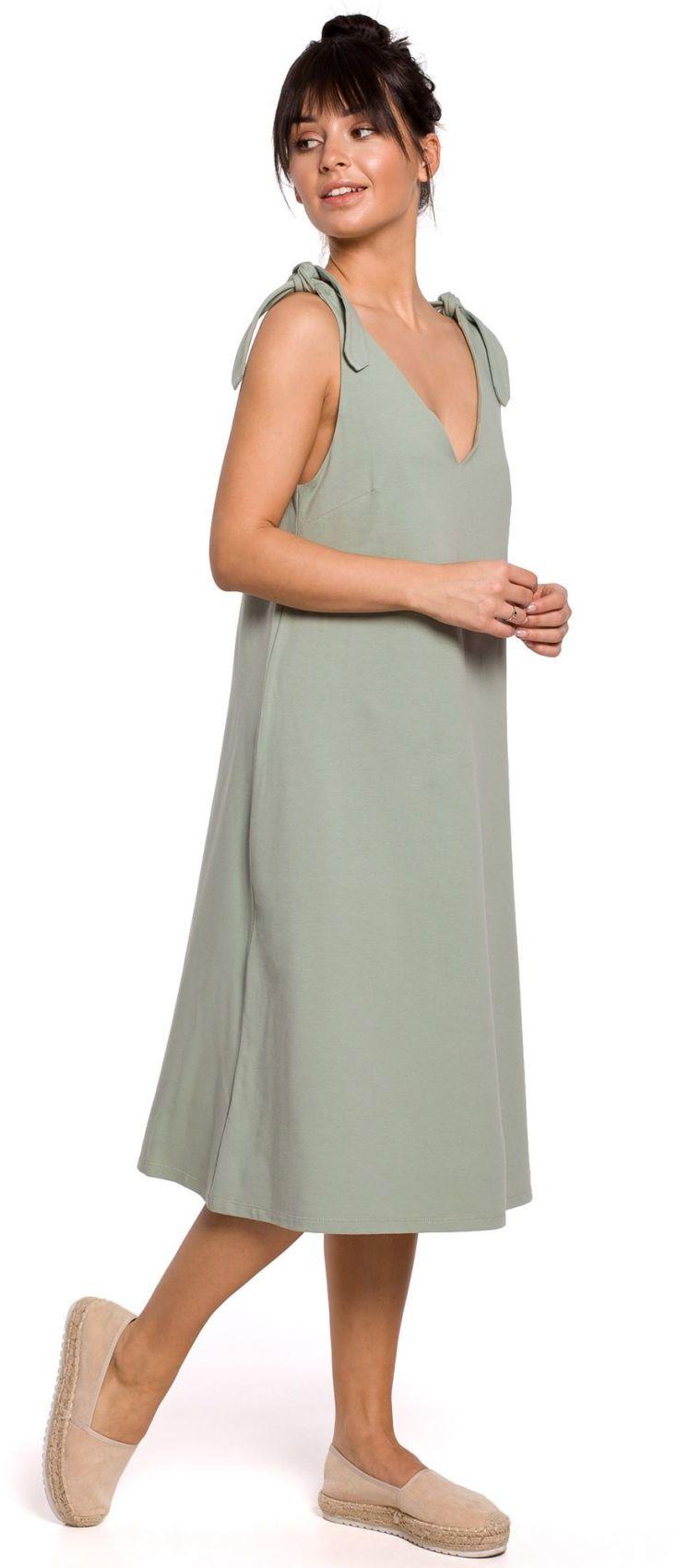 B148 Sukienka na wiązanych ramiączkach - pistacjowa