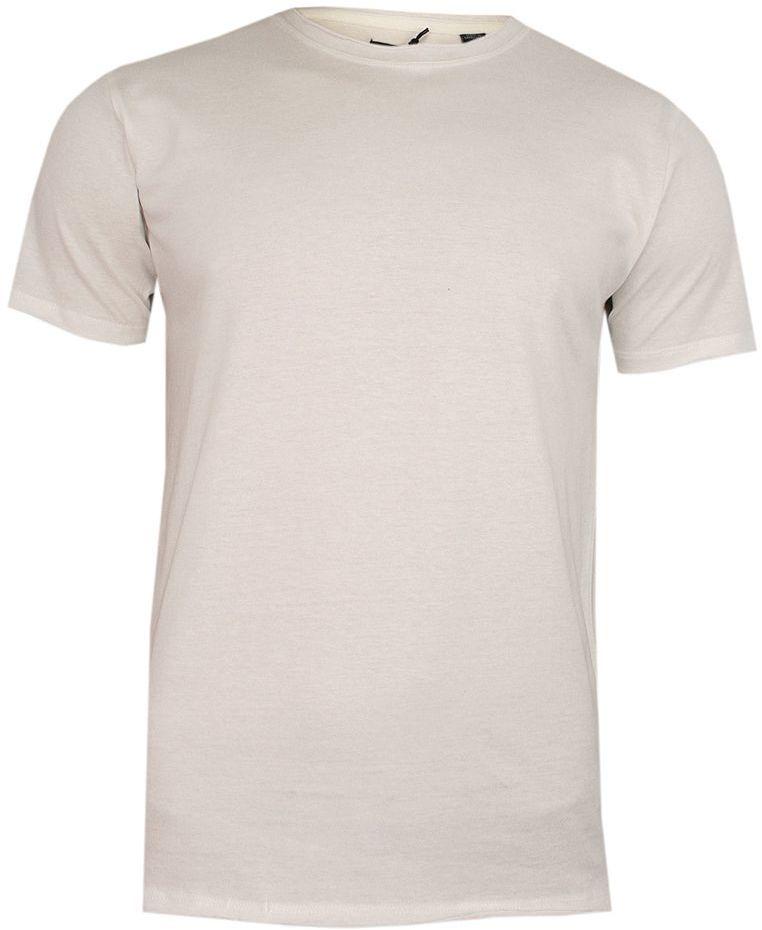 Kremowy T-Shirt (Koszulka) Bez Nadruku -BRAVE SOUL- Męski, Okrągły Dekolt, Écru, Postrzępione Brzegi TSBRSSS20FRESHERJoffwhite