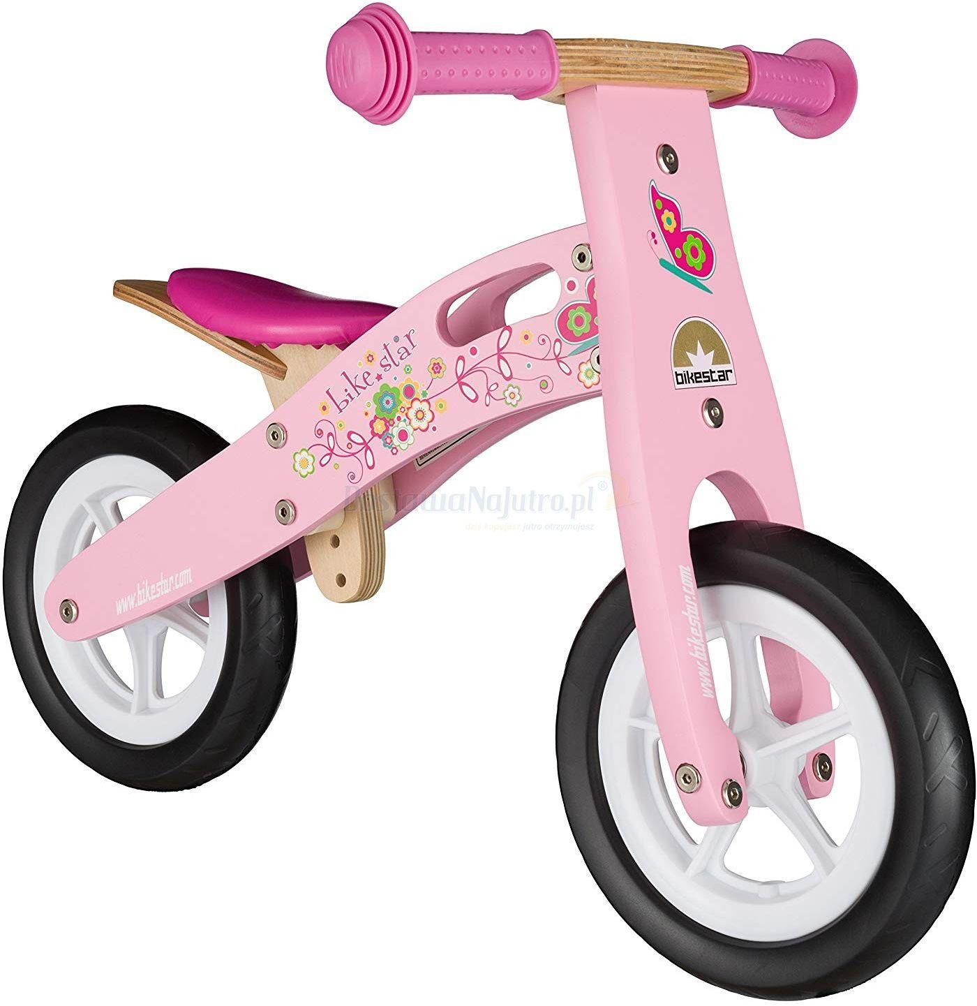 """Rowerek biegowy dwukołowy Bike Star 10"""" drewniana rama różowy"""