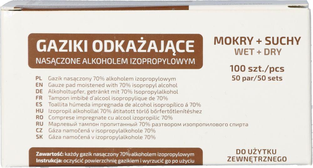 Gaziki do dezynfekcji nasączone alkoholem izopropylowym 6,5 x 3 cm