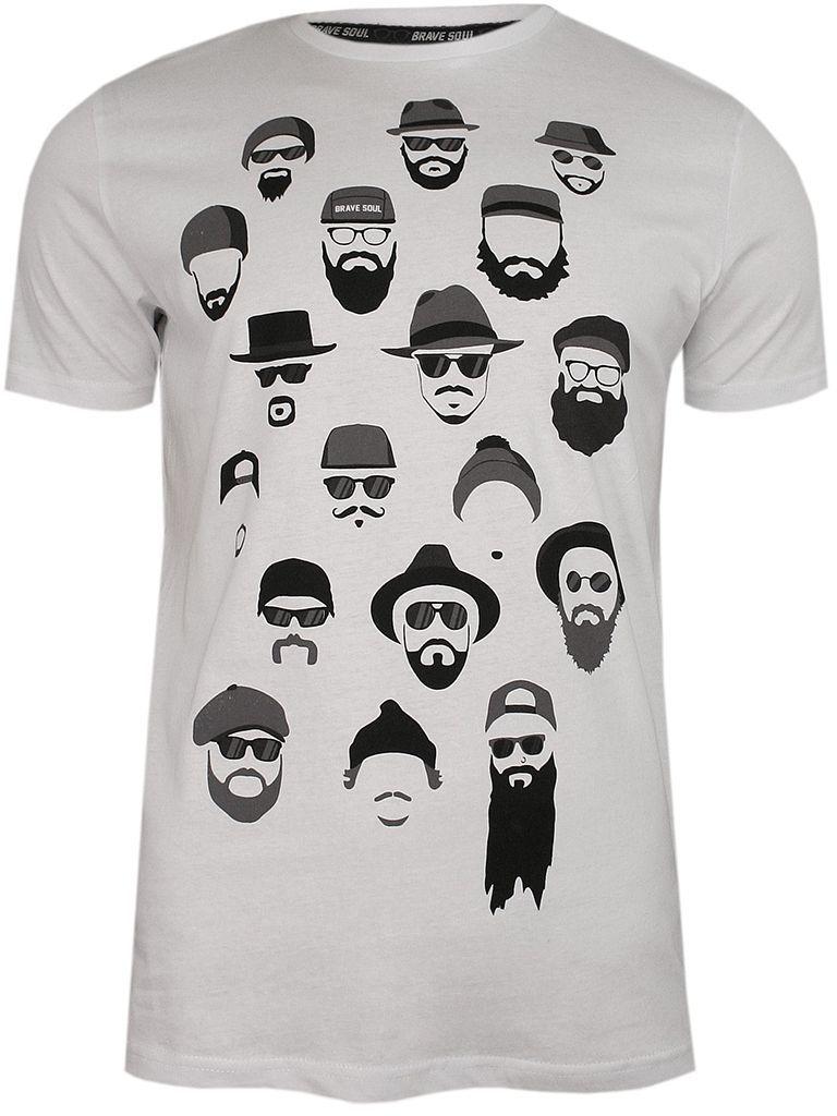 Biały T-Shirt (Koszulka) z Nadrukiem -BRAVE SOUL- Męski, Brodacz, Okrągły Dekolt, Barber, Twarze TSBRSSS20BERGXopticwhite