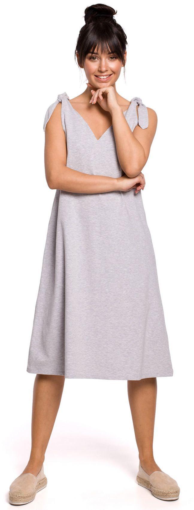 B148 Sukienka na wiązanych ramiączkach - szara