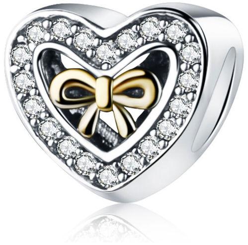 Rodowany srebrny charms do pandora serce dar miłości heart kokarda cyrkonie srebro 925 QS0667