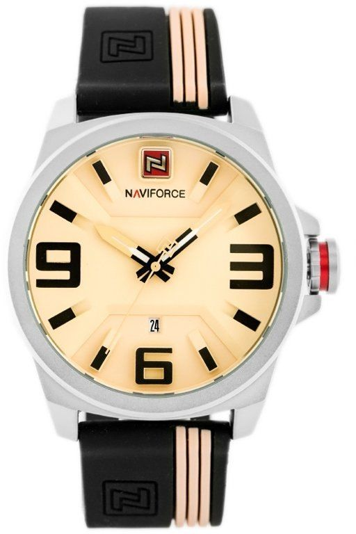 ZEGAREK MĘSKI NAVIFORCE - NF9098 (zn045a) - beige/black
