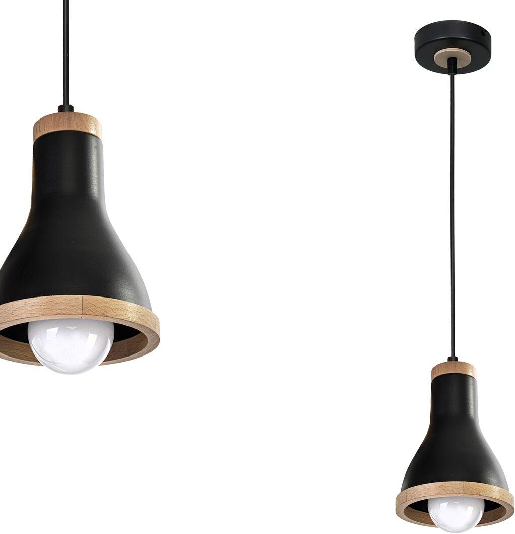 Lampa wisząca HOLLY BLACK / WOOD 1xE27 60W