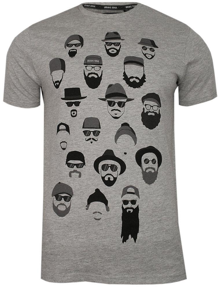 Szary T-Shirt (Koszulka) z Nadrukiem -BRAVE SOUL- Męski, Okrągły Dekolt, Twarze, Brodacz, Barber TSBRSSS20BERGXgreymarl