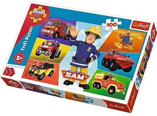 Puzzle TREFL 100 - Pojazdy Strażaka Sama, Sam''s vehicles