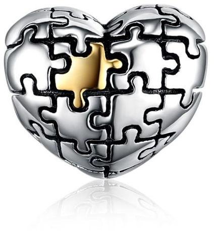 Rodowany pozłacany srebrny charms do pandora serce serduszko puzzle heart srebro 925 SY031