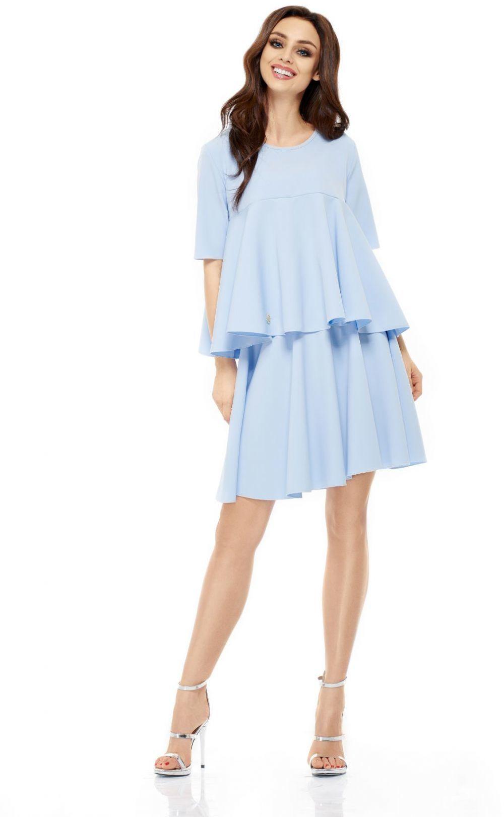 Komplet bluzka i spódnica L238 błękitny