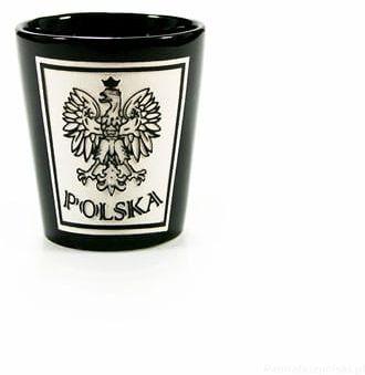Kieliszek czarny cięty Polska - Orzeł