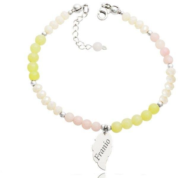 BR1087 bransoletka z grawerem, srebro opal różowy, agat żółty