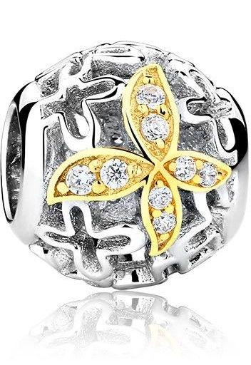 Rodowany srebrny charms pandora kulka kuleczka pozłacany motyl motylek cyrkonie srebro 925 GS017-1