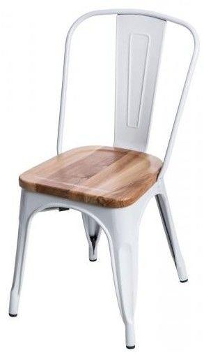 Krzesło Paris Wood białe sosna naturalna