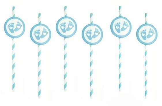 Słomki papierowe Stópki niebieskie 6 sztuk 510631