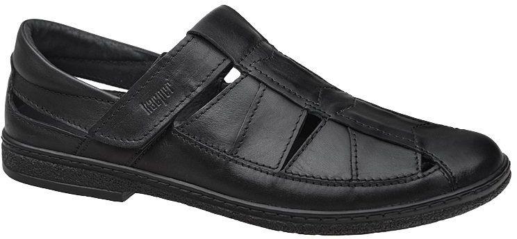 Półbuty Sandały KACPER 1-4480-253 Czarne na rzepy