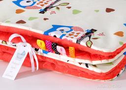 MAMO-TATO Kocyk Minky dla dzieci 100x135 Sówki kremowe D / czerwona pomarańcza