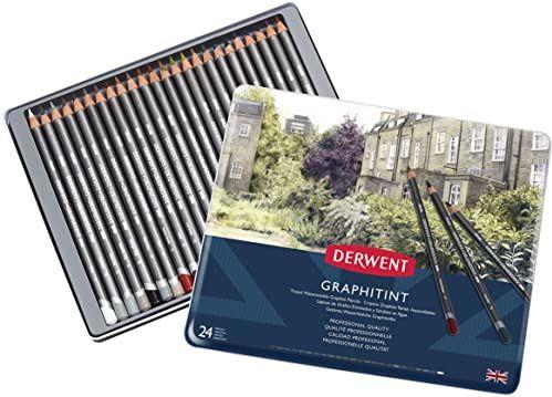 Derwent, 24 Kolorowe Ołówki do Rysowania Graphitint, Grafit i Wodorozpuszczalny Pigment, Metalowe Pudełko (0700803)
