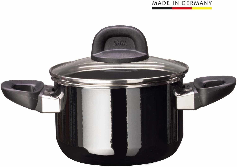 Silit Modesto Line garnek do gotowania, wysokość 16 cm, szklana pokrywka, garnek do mięsa 2,0 l, ceramika funkcyjna Silargan, garnek do kuchenek indukcyjnych, czarny