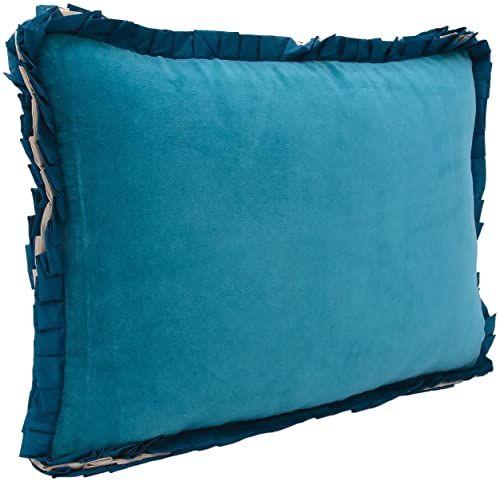 Ragged Rose Ribbon turkusowa aksamitna poduszka, bawełna, 35 x 50 cm