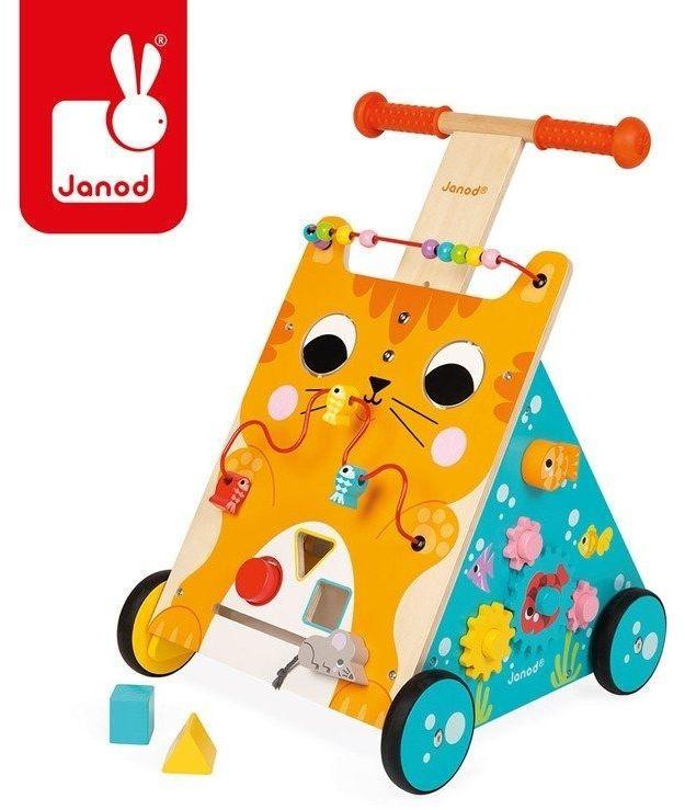 Wielofunkcyjny pchacz edukacyjny kot, 12 m+, janod