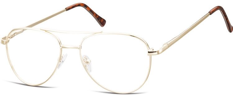 Okulary oprawki Pilotki zerówki metalowe korekcyjne 789C złote