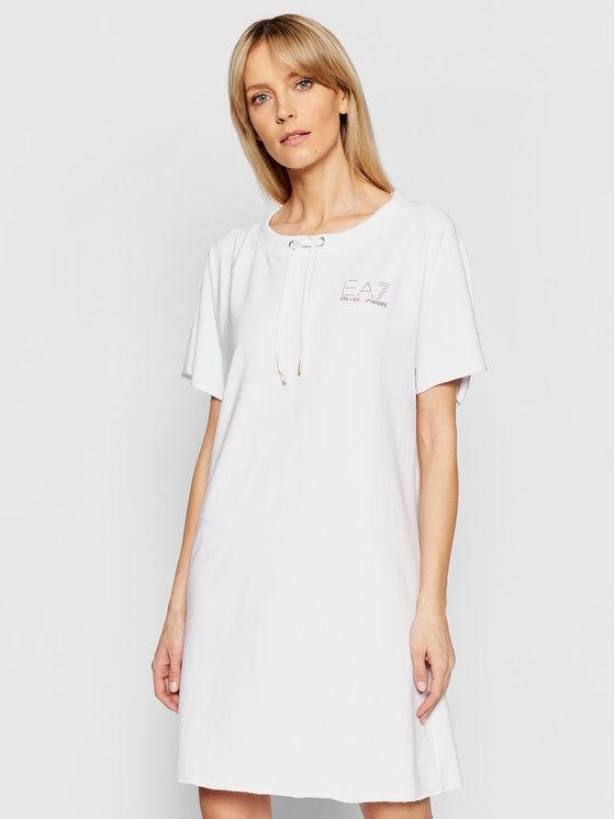 EA7 Emporio Armani Sukienka dzianinowa 3KTA55 TJ9RZ 1100 Biały Regular Fit
