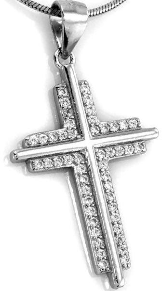 Srebrna zawieszka 925 krzyżyk z cyrkoniami 2,09g
