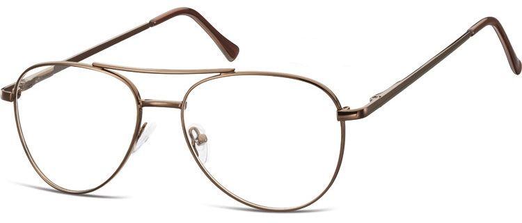 Okulary oprawki Pilotki zerówki metalowe korekcyjne 789E brązowe