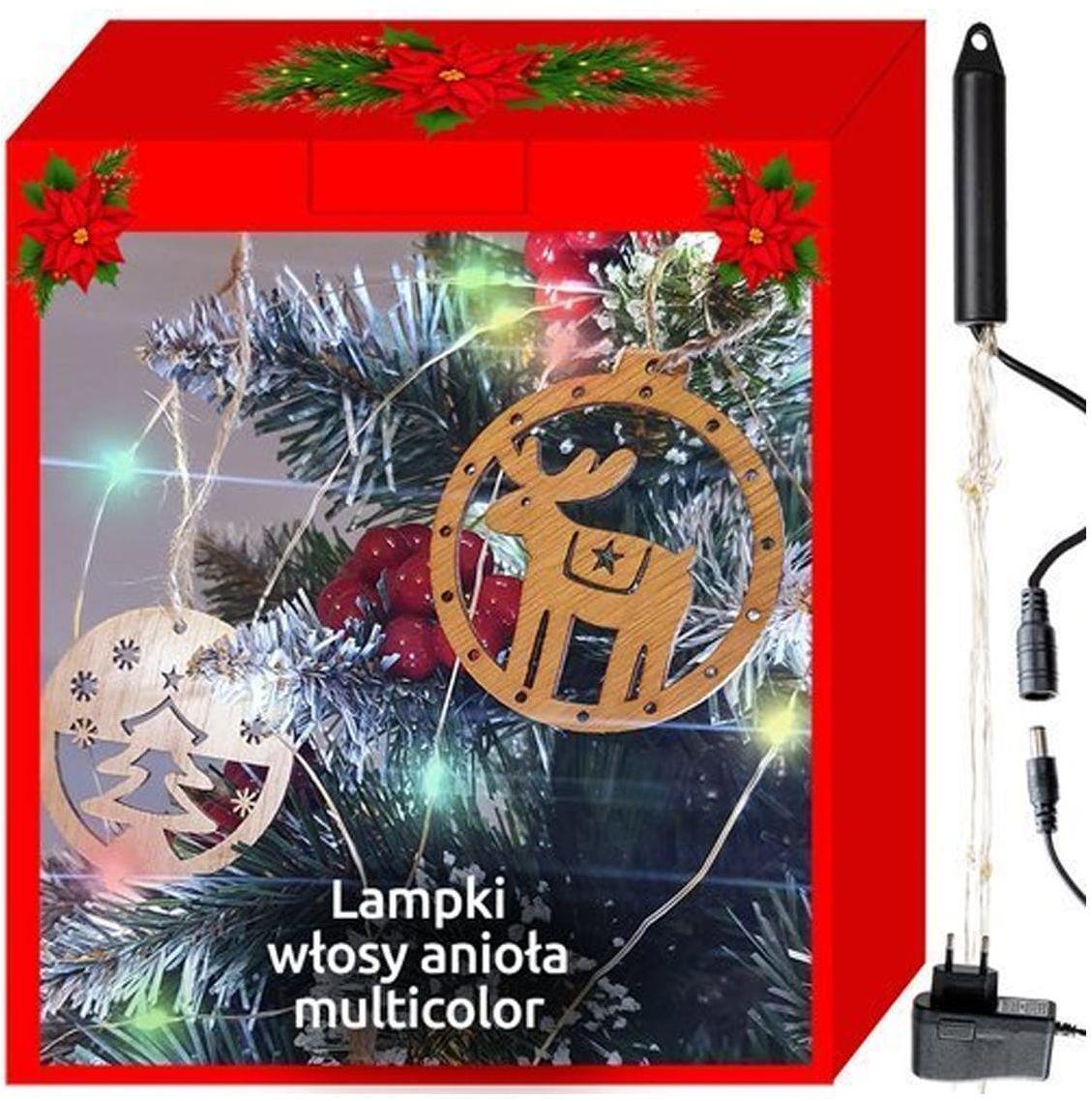 Lampki choinkowe LED włosy anioła - multikolor - 200 lampek