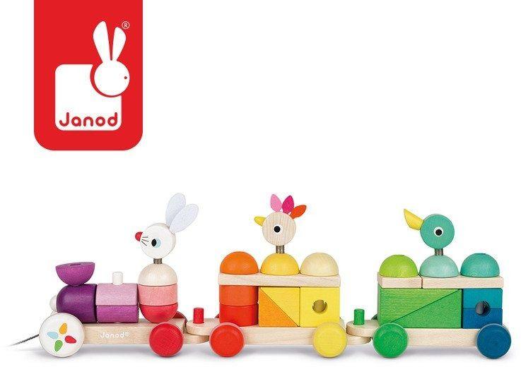 Pociąg z klockami i zwierzątkami do ciągnięcia 28 elementów, janod