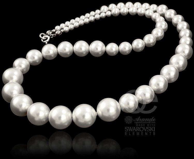Kryształy BIAŁE PERŁY piękny naszyjnik SREBRO