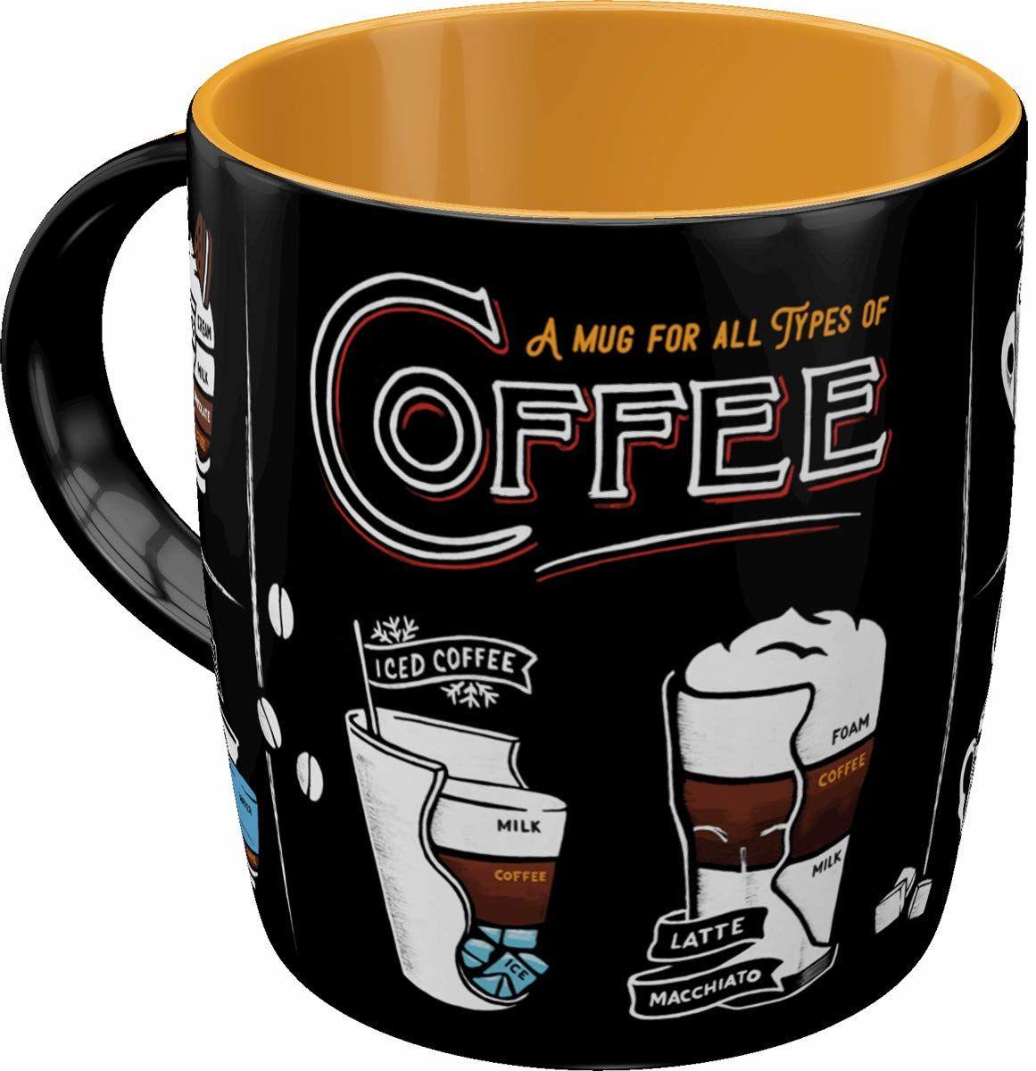Nostalgic-Art Retro kubek do kawy - Coffee & Chocolate - All Types of Coffee, duża filiżanka w stylu retro, pomysł na prezent dla miłośników kawy, 330 ml