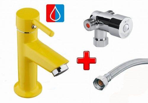 Zestaw do zimnej i ciepłej wody: Bateria umywalkowa 15cm jednouchwytowa NINO, żółta + Mieszacz + Wężyk 300mm, FLEX