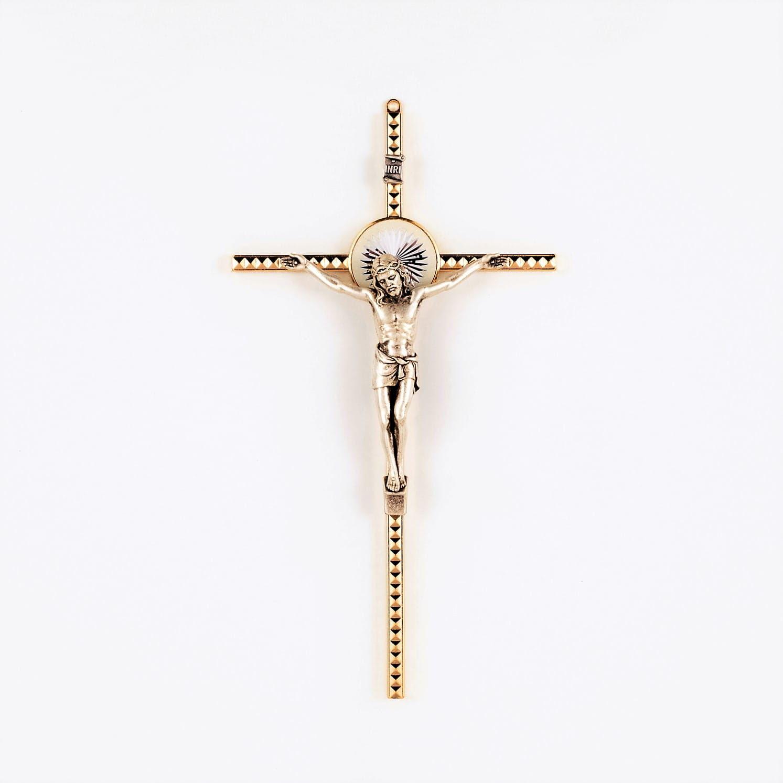 Krzyż metalowy, zdobiony, 21 cm