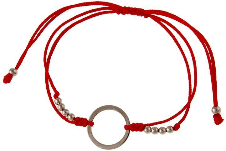 Bransoletka szczęścia celebrytka kółko circle ring bawełna srebro 925 B0688