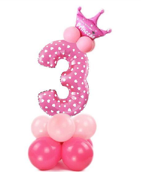 Zestaw balonów na 3 urodziny dziewczynki różowa cyfra z koroną 400127