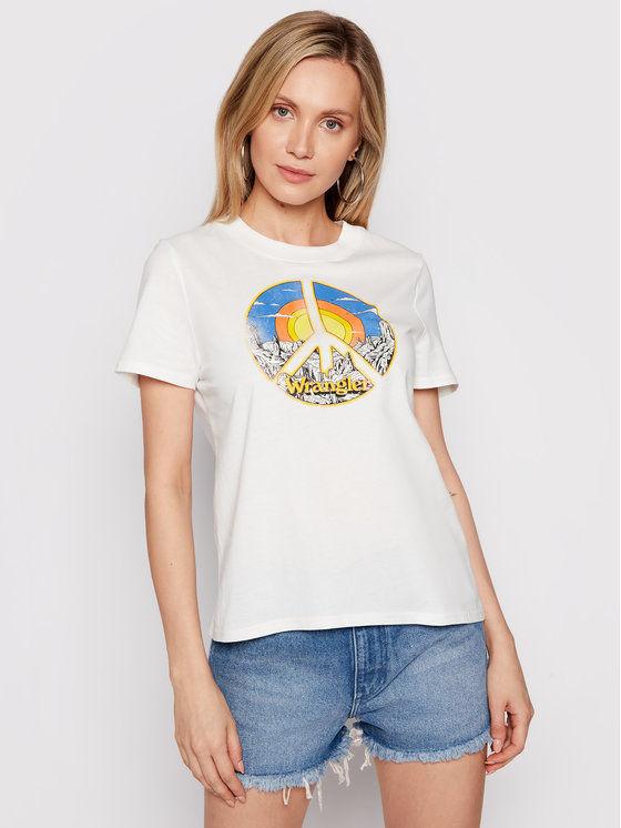 Wrangler T-Shirt High Rib W7N9GHW05 Beżowy Regular Fit
