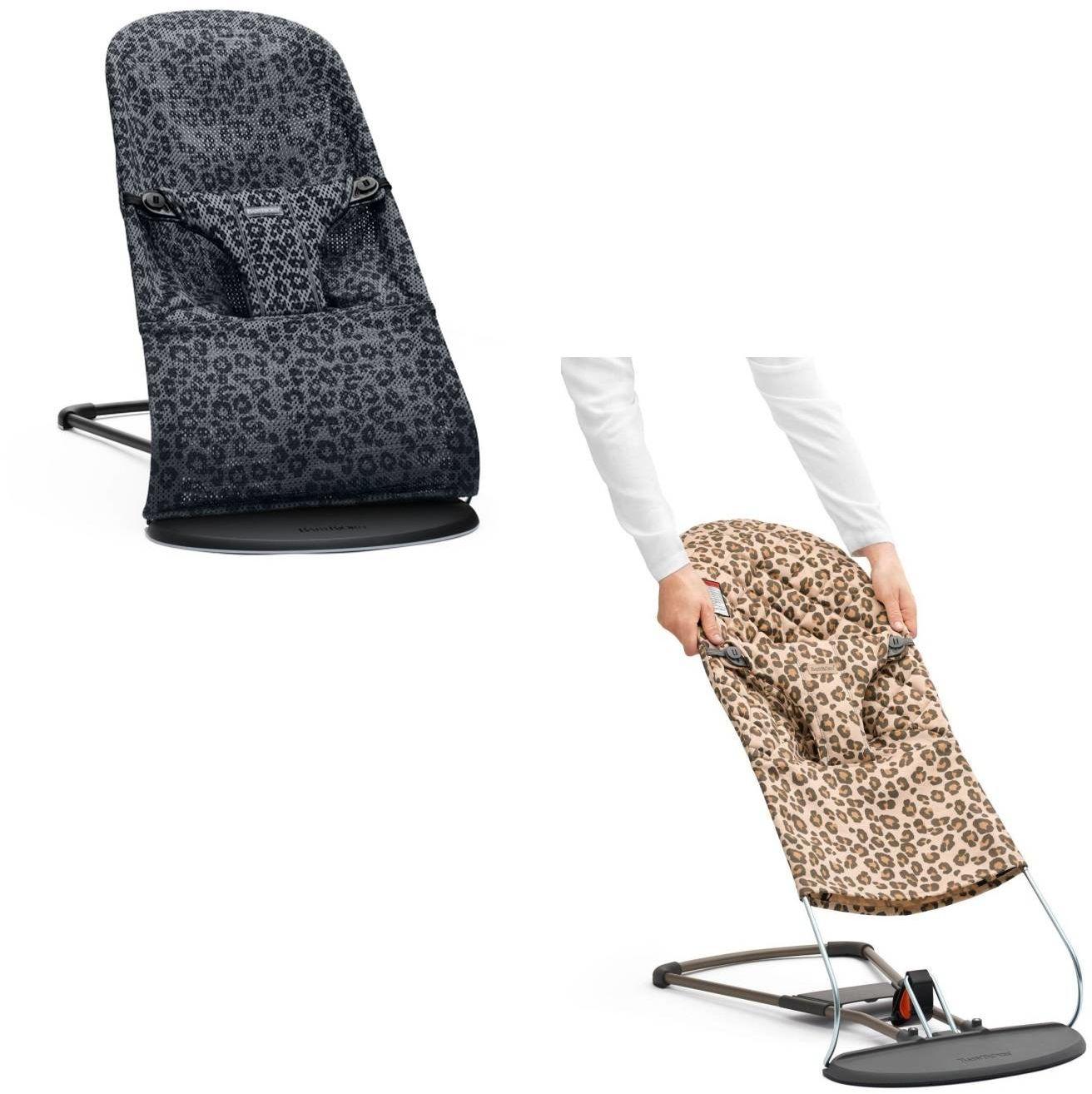 BABYBJORN - leżaczek BLISS MESH - Antracytowy/Leopard + poszycie do leżaczka Balance Bliss Beż/Leopard, Cotton