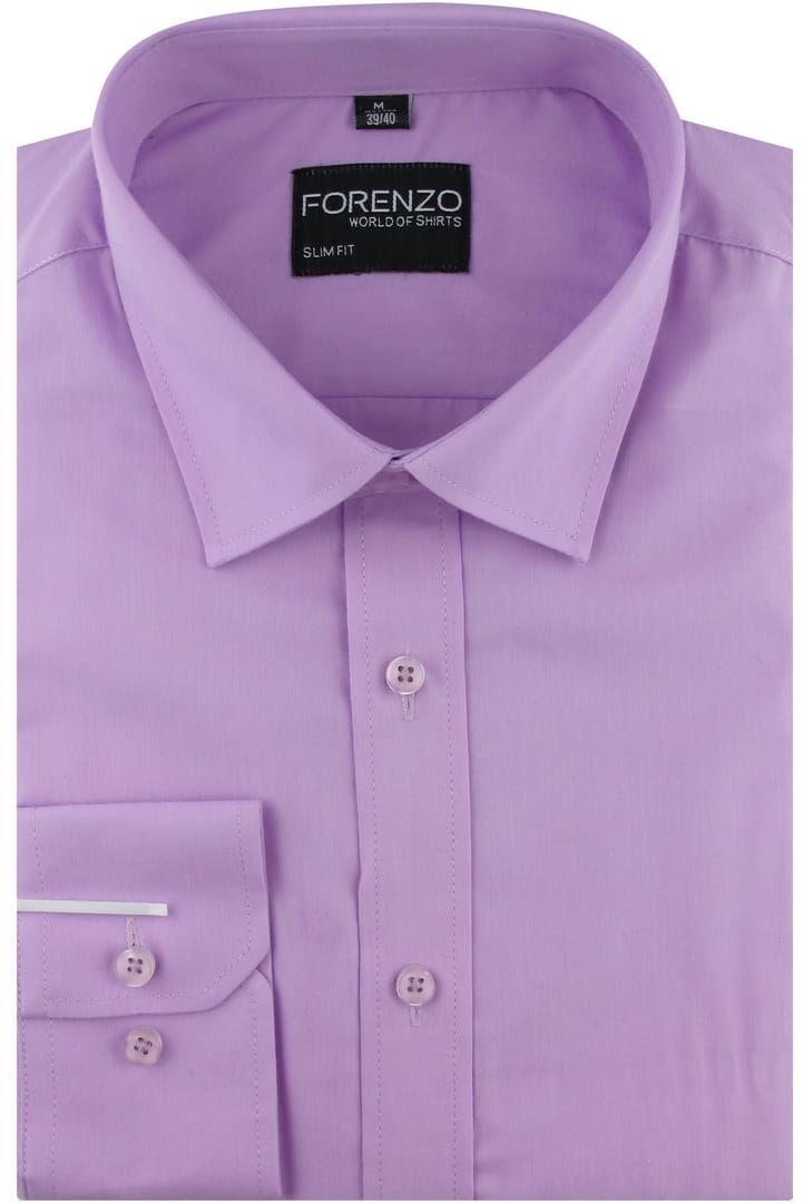 Koszula Męska Elegancka Wizytowa do garnituru gładka lilowa wrzosowa z długim rękawem w kroju SLIM FIT Forenzo B269