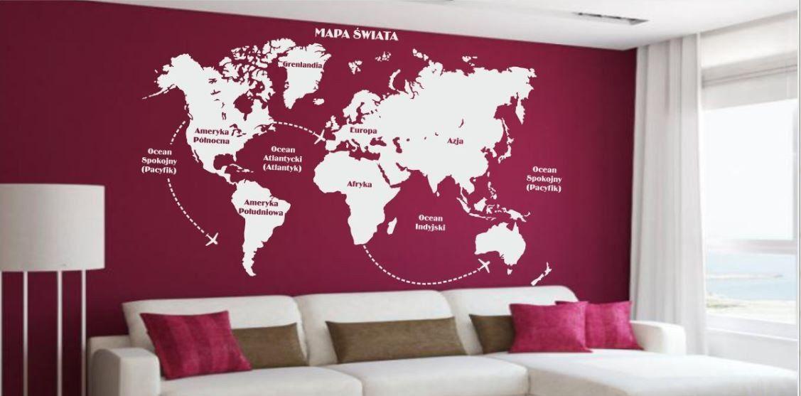Naklejka Różne Rzeczy Mapa Świata