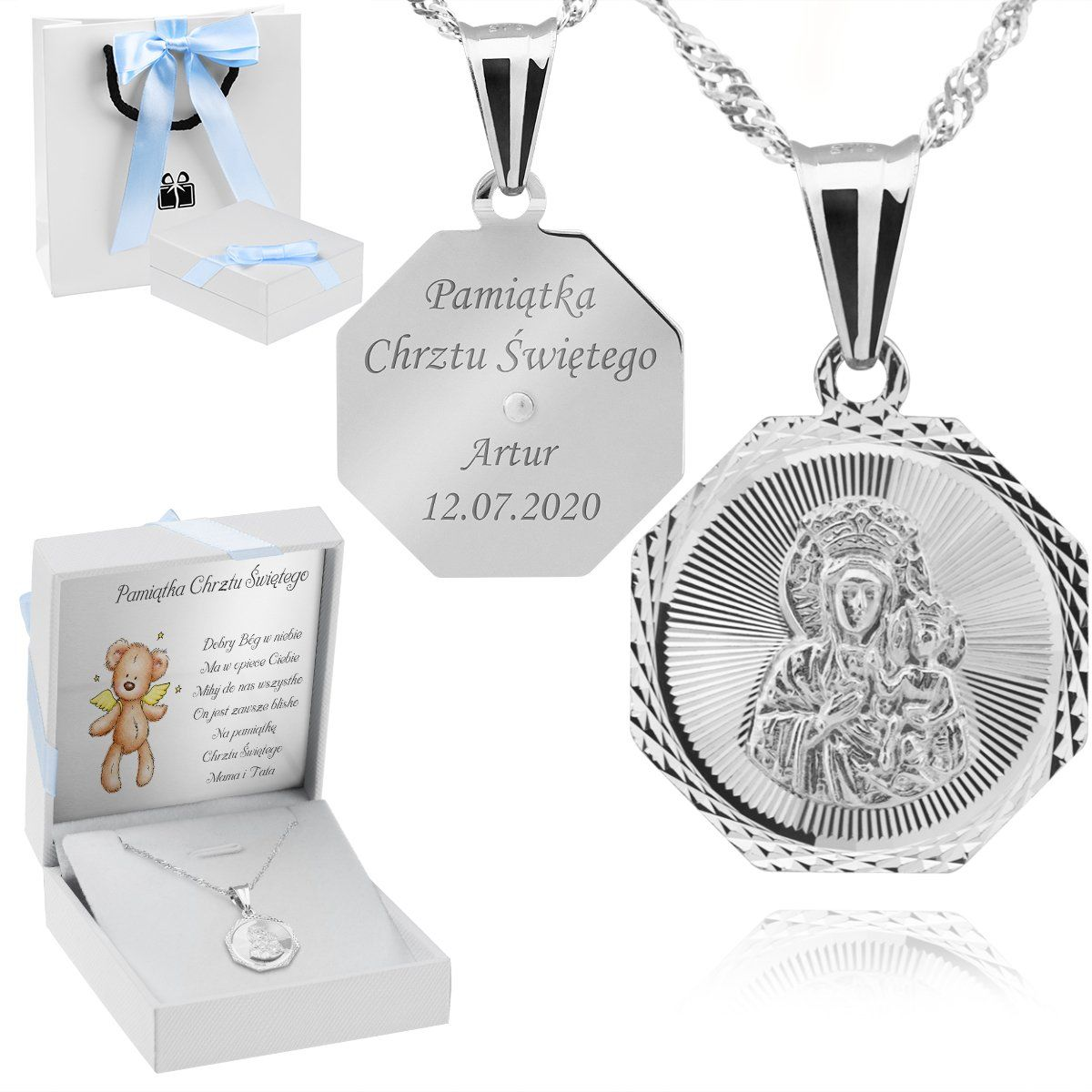 Srebrny medalik Matka Boska Częstochowska pr. 925 Grawer