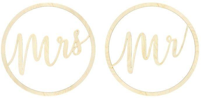 Zawieszki dekoracyjne drewniane Mr Mrs 38cm 2szt. ZDD1-100