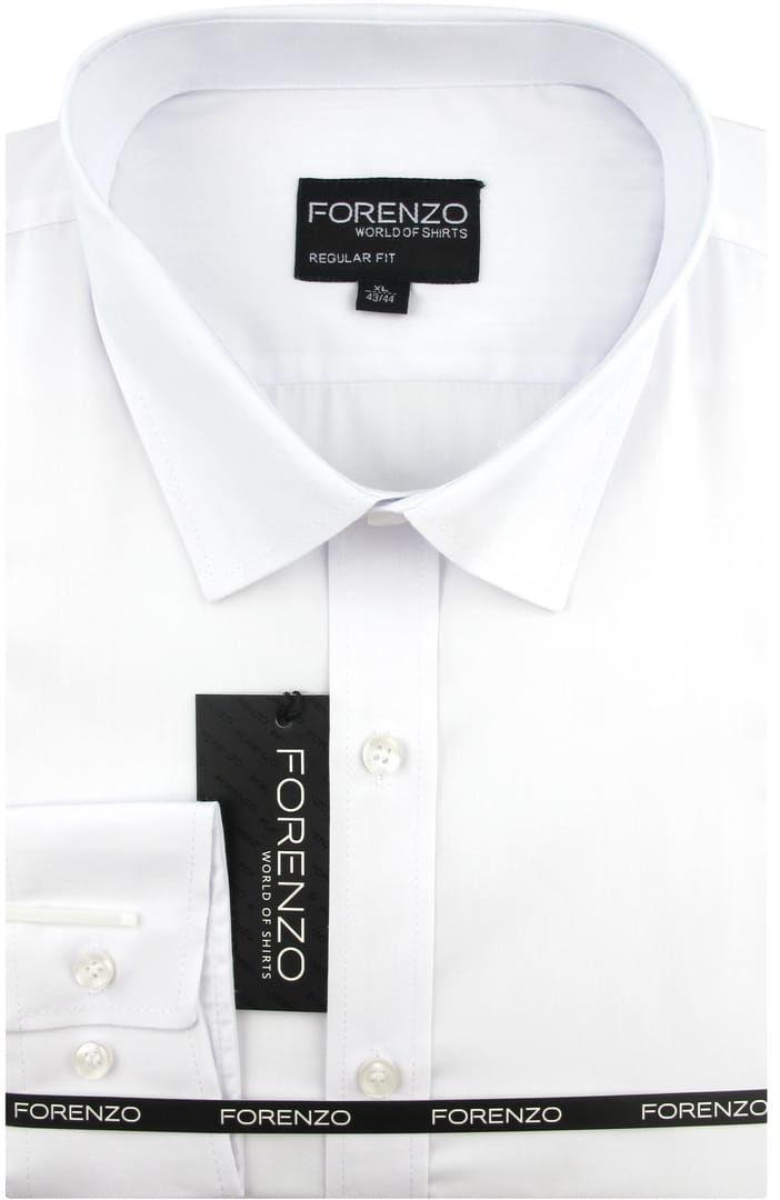 Koszula Męska Elegancka Wizytowa do garnituru gładka biała z długim rękawem w kroju REGULAR Forenzo B278