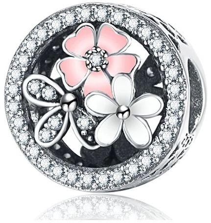 Rodowany srebrny charms do pandora kwiaty flowers cyrkonie cyrkonie srebro 925 BEAD32F