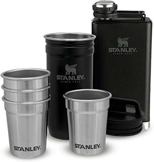 Stanley Adventure Pre-Party Shot Glass + Flask Set Matte Black  Stal nierdzewna bez BPA - Piersiówka ze Stali Nierdzewnej - Zestaw podarunkowy - Do Mycia w Zmywarce - Dożywotnia gwarancja