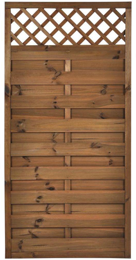 Płot szczelny z kratką 90x180 cm drewniany NIVE NATERIAL