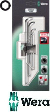 komplet 9szt. kluczy trzpieniowych z ekstra krótkim ramieniem z kulką do śrub imbusowych metryczny, 1,5-10mm, Wera [05073594001]