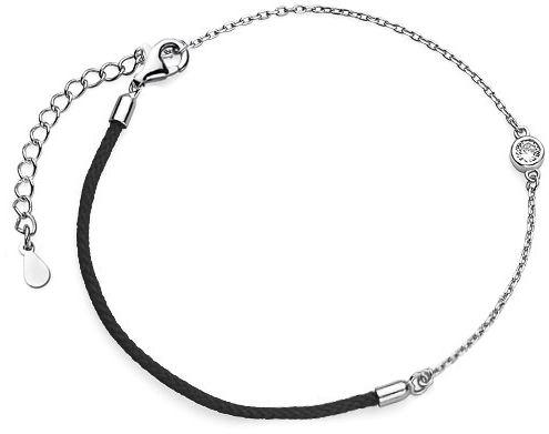 Bransoletka szczęścia celebrytka kółko circle ring bawełna cyrkonie srebro 925 Z1705B_B