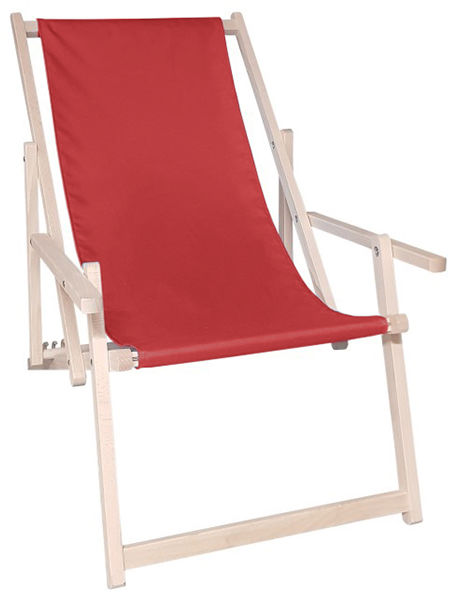 Drewniany leżak z podłokietnikiem, Czerwony Swing Sunbed Plus