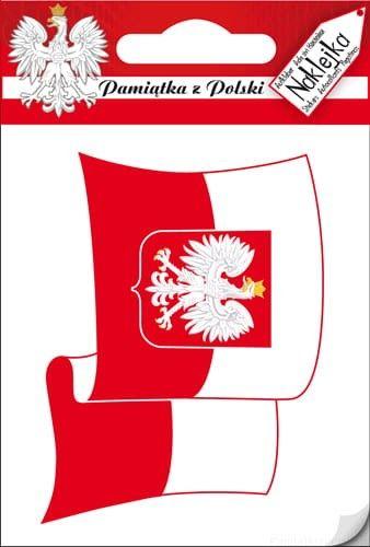 Naklejka pojedyncza Polska - Bandera falująca